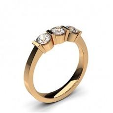 Rund Rotgold Diamond Rings Three Stone