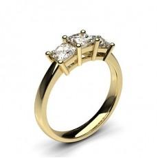 4 Prong Setting Princess Diamond Plain Three stone Ring in 9K Yellow Gold