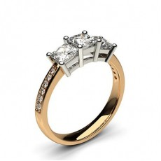 0.90ct. 4 Prong Setting Studded Three stone Ring - CLRN245_02