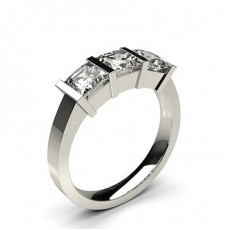 Bar Setting Plain Three stone Ring in 18K White Gold