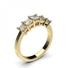 Princess Yellow Gold 5 Stone Diamond Rings