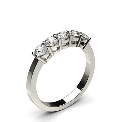 Bague 5 pierres diamant rond serti 4 griffes