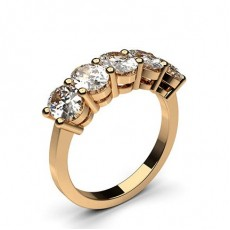 Oval Rose Gold 5 Stone Diamond Rings