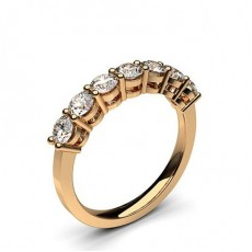 Round Rose Gold 7 Stone Diamond Rings