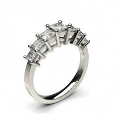 Bague 7 pierres diamant princesse serti 4 griffes - CLRN258_02