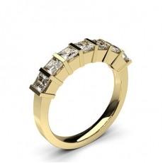 Princess Yellow Gold 7 Stone Diamond Rings