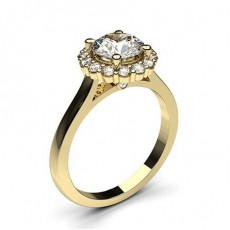 Yellow Gold Halo Diamond Engagement Ring (Available from 0.20ct. to 3.00ct.)