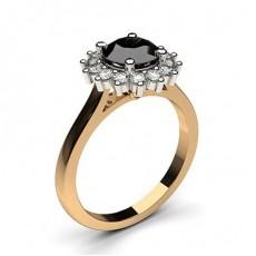 4 Prong Setting Side Stone Halo Black Diamond Ring - CLRN271_06