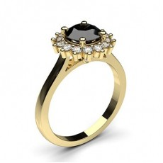 4 Prong Setting Side Stone Halo Black Diamond Ring - CLRN271_06