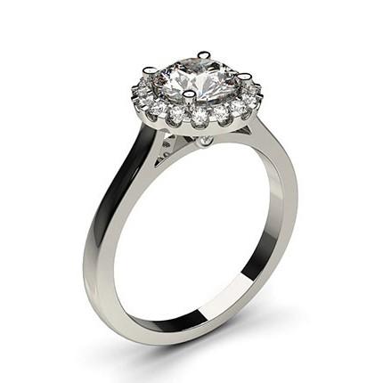 Bague de fiançailles halo diamant rond serti 4 griffes profil poire et clos
