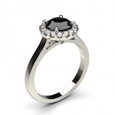 4 Prong Setting Side Stone Halo Black Diamond Ring (Available from 0.50ct. to 2.00ct.)
