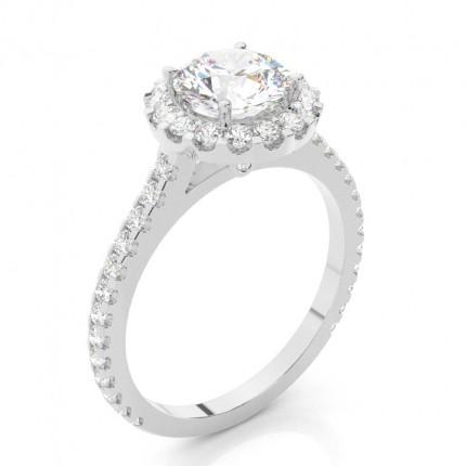 Buy White Gold Halo Diamond Engagement Ring line Diamonds