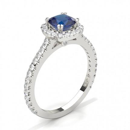 Cushion Halo Blue Sapphire Engagement Ring