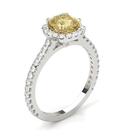 Bague de fiançailles halo diamant jaune