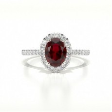Oval Platinum Gemstone Engagement Rings