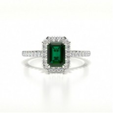 Emerald Platinum Side Stone Diamond Rings
