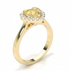 Heart Yellow Gold Halo Engagement Rings