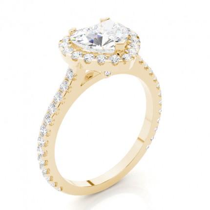 Bien connu Bague de fiançailles épaulée halo diamant serti 3 griffes et clos  SU04