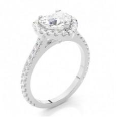 Bague de fiançailles épaulée halo diamant serti 3 griffes et clos - CLRN271_09