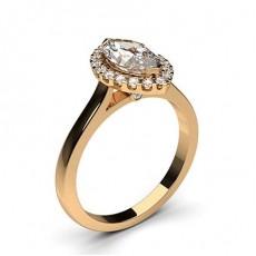 Bagues de fiançailles en forme marquise et en or rose