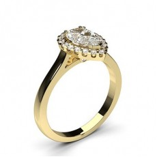 Pear Yellow Gold Halo Diamond Engagement Rings
