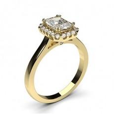 Radiant Yellow Gold Halo Diamond Engagement Rings