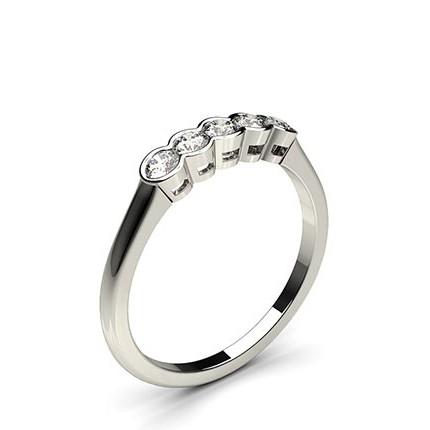 Semi Bezel Setting Plain Five Stone Ring