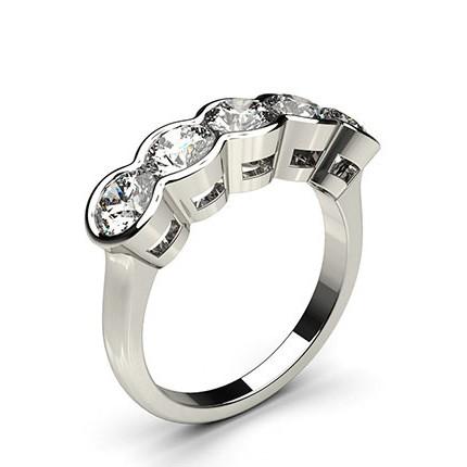Fünf Diamanten in einer halben Zargenfassung