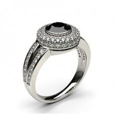 Full Bezel Setting Side Stone Halo Black Diamond Ring - HG0647_42