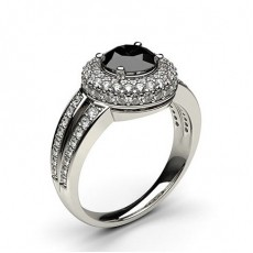 4 Prong Setting Side Stone Halo Black Diamond Ring - CLRN326_02