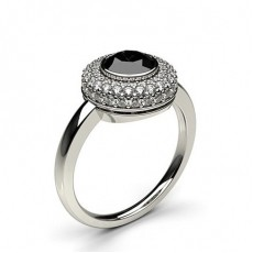 Full Bezel Setting Plain Halo Black Diamond Ring in 18K White Gold - HG0532_44