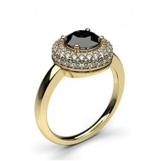 4 Prong Setting Plain Halo Black Diamond Ring - HG0596_61