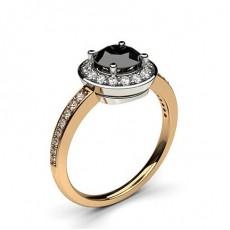4 Prong Setting Plain Halo Black Diamond Ring - CLRN333_05