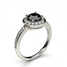 4 Prong Setting Plain Halo Black Diamond Ring