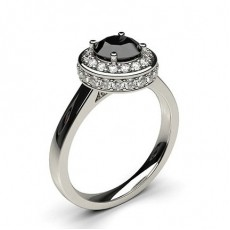 4 Prong Setting Plain Halo Black Diamond Ring - HG0508_P19