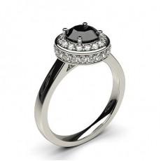 Bague épaulée halo diamant noir serti 4 griffes - HG0508_P19