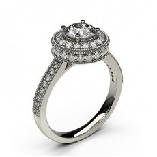 Round Halo Diamond Engagement Rings