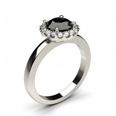 4 Prong Setting Plain Halo Black Diamond Ring - HG0625_P23