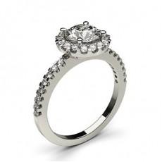 Bague en diamant épaulée halo diamant serti 4 griffes profil poire