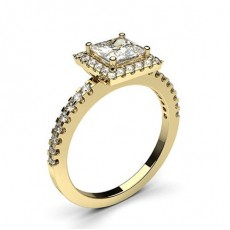 Princess Yellow Gold Halo Engagement Rings