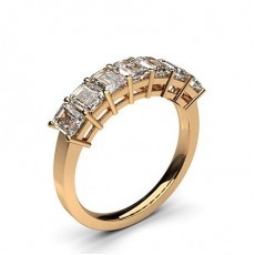 Emerald Rose Gold 7 Stone Diamond Rings