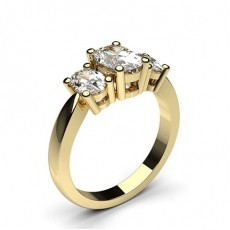 Oval Yellow Gold Trilogy Diamond Rings