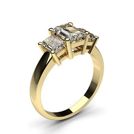 Yellow Gold Emerald Trilogy Diamond Engagement Ring