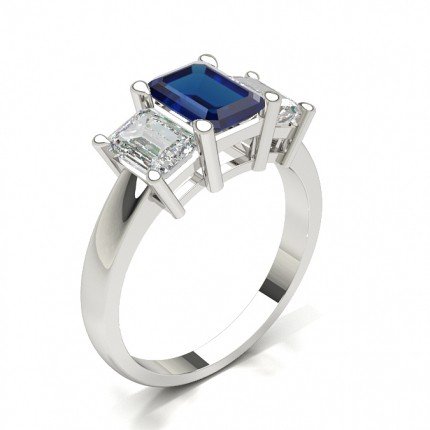White Gold Emerald Trilogy Blue Sapphire Engagement Ring