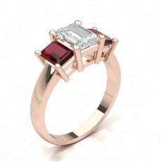 Emerald Rose Gold Gemstone Diamond Engagement Rings