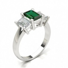Emerald White Gold Three Stone Engagement Rings