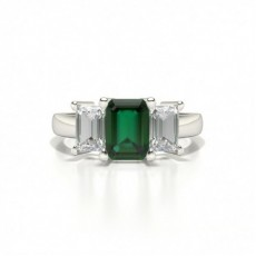 White Gold Emerald Trilogy Emerald Engagement Ring
