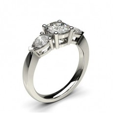 White Gold Round and Pear Trilogy Diamond Engagement Ring - CLRN347_01