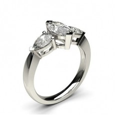 2 Prong Setting Studded Three stone Ring - CLRN347_02