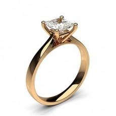 4 Prong Setting Plain Engagement Ring in 18K Rose Gold